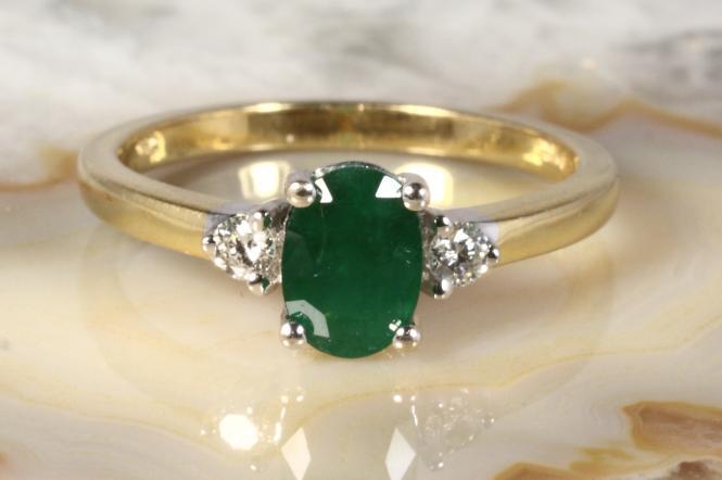 Smaragd Ring Brillanten Gold 750