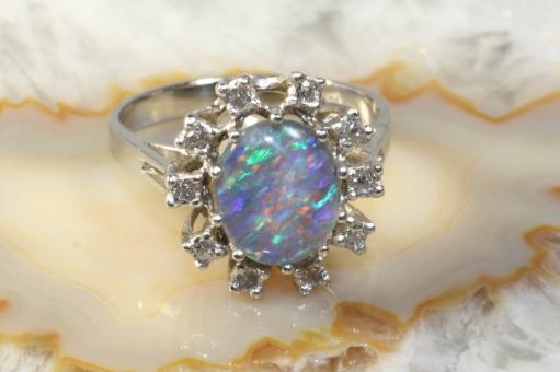 Ring Gold 585 Diamanten und Opal Triplette | Second Hand Schmuck