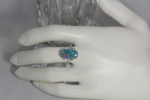 Ring Gold 585 10 Diamanten & Opal Triplette | Second Hand Schmuck