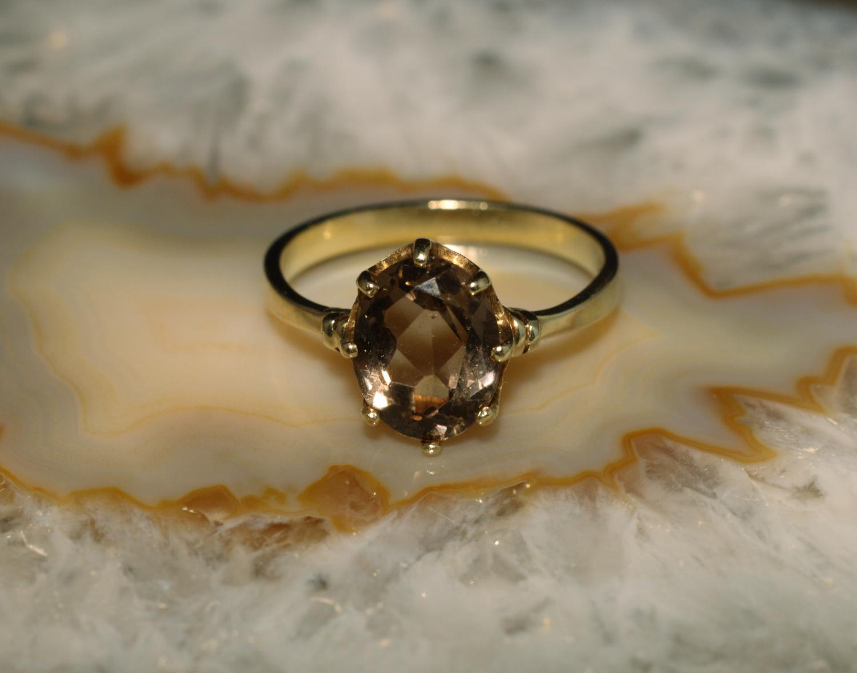 ring gold 585 mit rauchquarz second hand schmuck. Black Bedroom Furniture Sets. Home Design Ideas