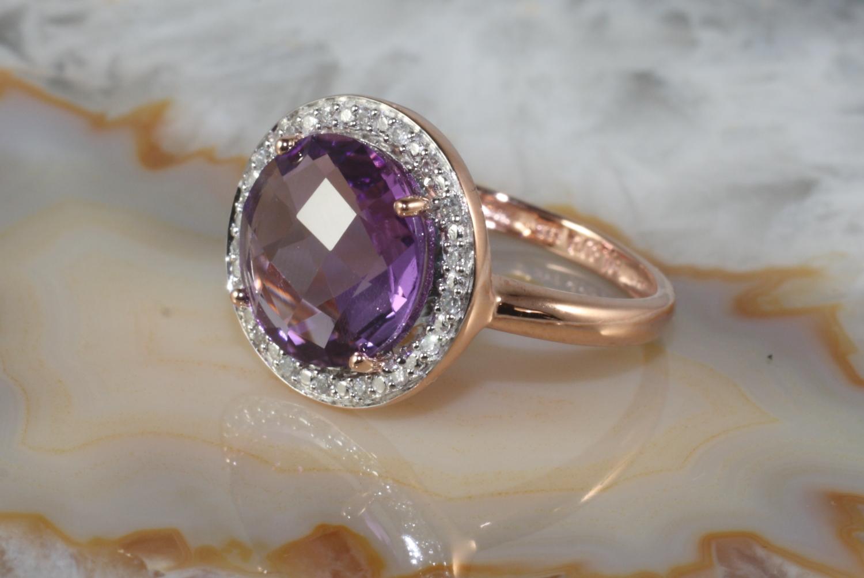 rosegold ring 333 amethyst und diamanten second hand schmuck. Black Bedroom Furniture Sets. Home Design Ideas