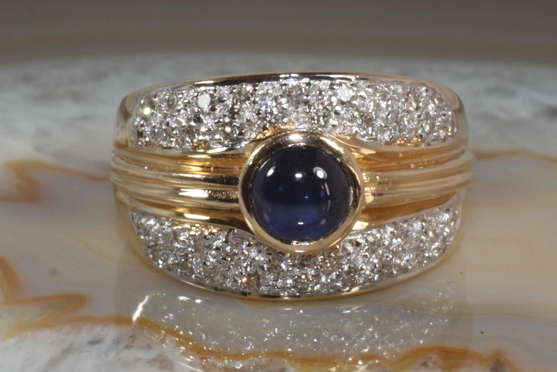 saphir ring mit 38 brillanten gold 585 second hand schmuck. Black Bedroom Furniture Sets. Home Design Ideas