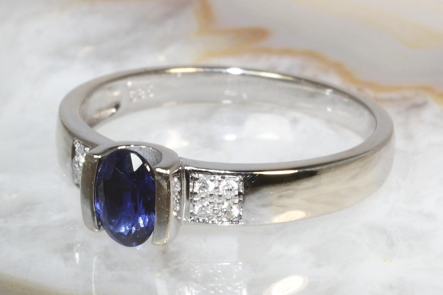 saphir ring brillanten wei gold 585 second hand schmuck. Black Bedroom Furniture Sets. Home Design Ideas