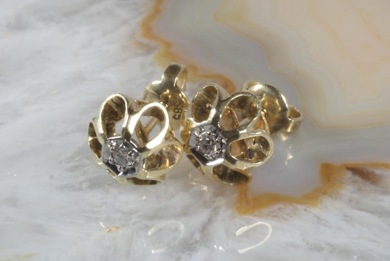 diamant ohrstecker gold 585 second hand schmuck. Black Bedroom Furniture Sets. Home Design Ideas