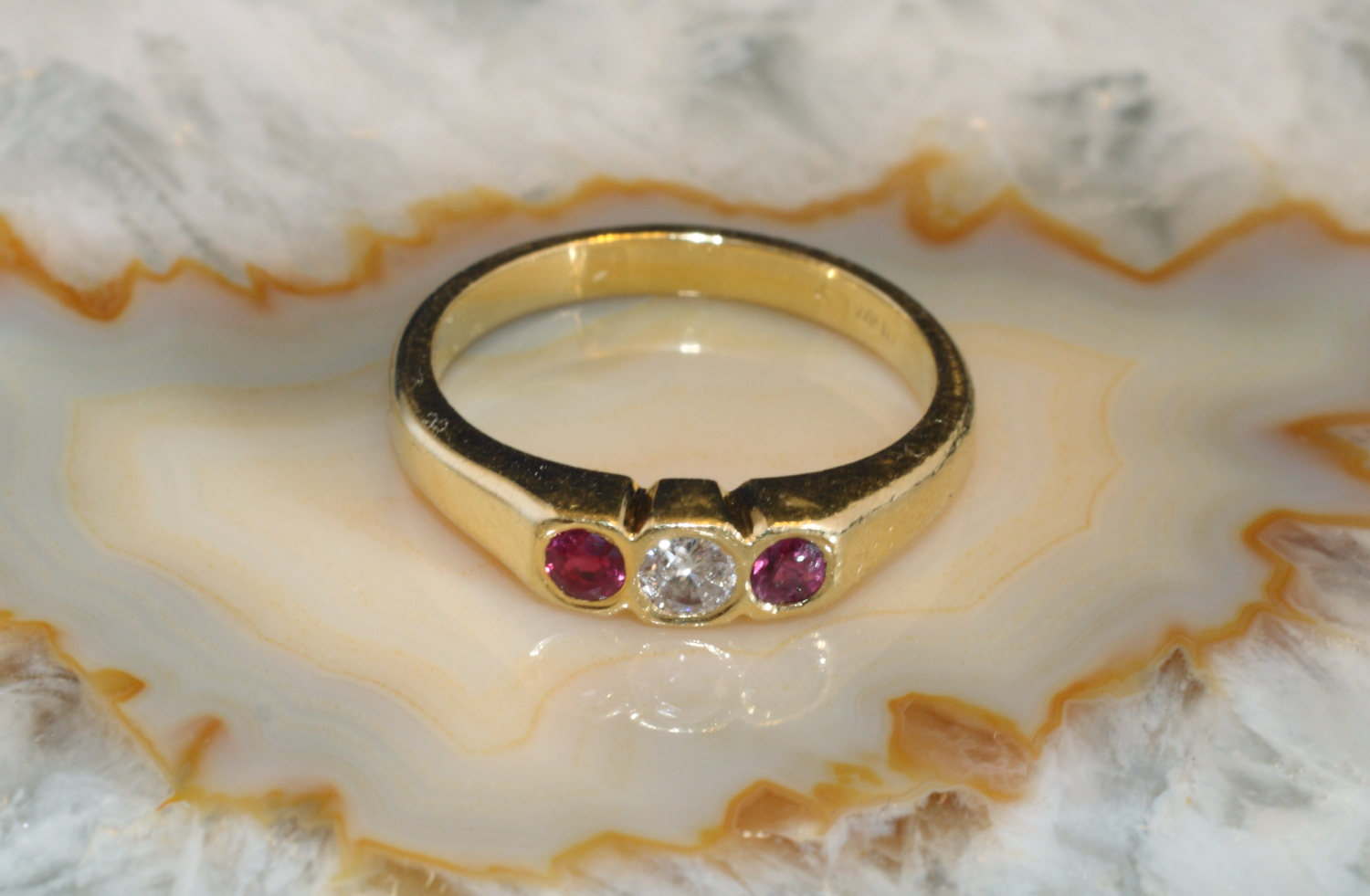 Rubin Ring Mit Diamant Gold 750 Second Hand Schmuck