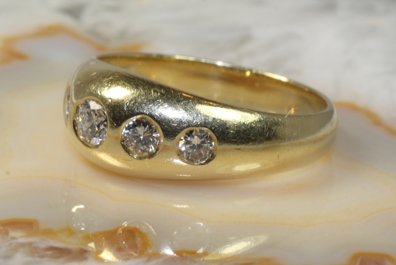 ring gold 585 mit 5 brillianten second hand schmuck. Black Bedroom Furniture Sets. Home Design Ideas