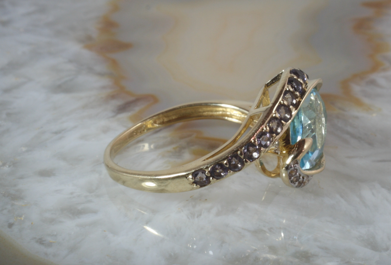 ring gold 585 blautopas second hand schmuck. Black Bedroom Furniture Sets. Home Design Ideas