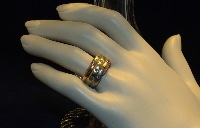 ring gold tricolor 585 mit si brillanten second hand schmuck. Black Bedroom Furniture Sets. Home Design Ideas